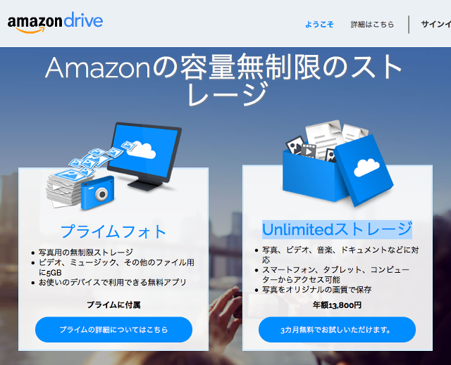Amazon Drive Unlimitedストレージ