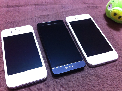 iPhone4S, Xperia SX, iPhone5