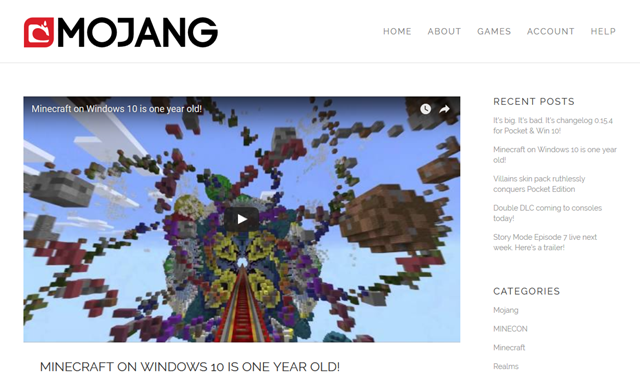 Minecraft on Windows 10 is one year old!