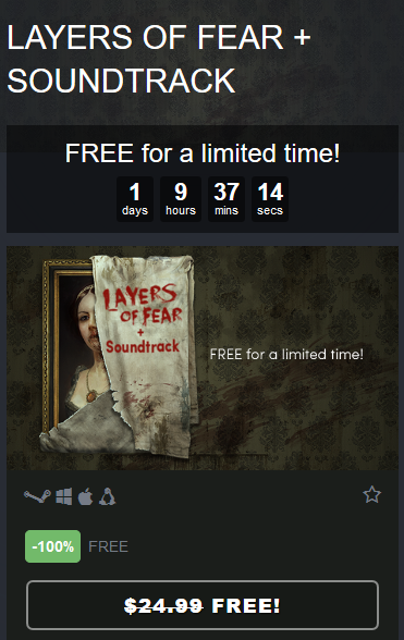 『Layers of Fear』Humble Bundleで無料配布中