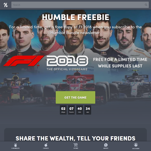 Humble Bundle F1 2018 のSteamキー配布中